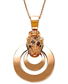 EFFY® Signature White Diamond (1/3 ct. t.w.), Black Diamond (1/4 ct. t.w.) and Emerald Accent Panther Pendant Necklace in 14k Rose Gold