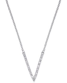 "Diamond ""V"" Necklace (1/10 ct. t.w.) in Sterling Silver"