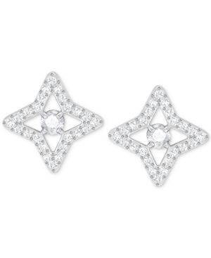 SILVER-TONE CRYSTAL STAR STUD EARRINGS