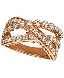 Strawberry & Nude™ Diamond Crisscross Ring (1-1/3 ct. t.w.) in 14k Gold or Rose Gold