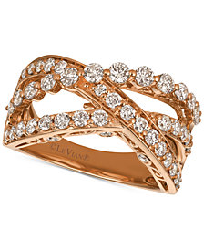 Le Vian® Strawberry & Nude™ Diamond Crisscross Ring (1-1/3 ct. t.w.) in 14k Gold or Rose Gold
