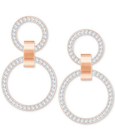 Swarovski Pavé Double-Hoop Chandelier Earrings