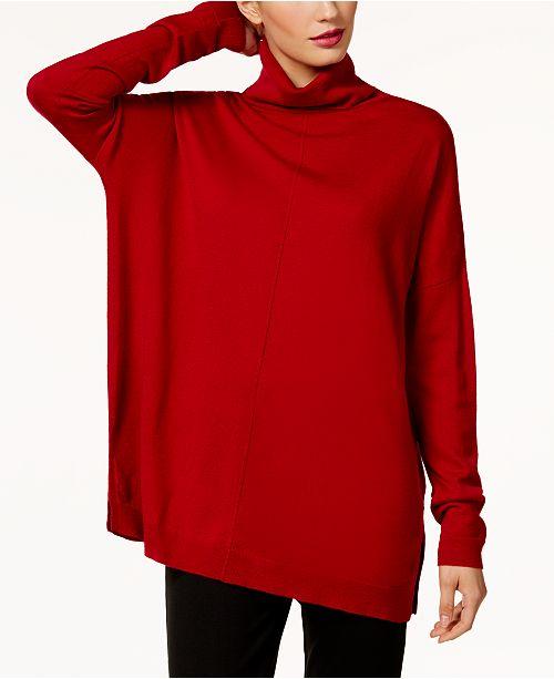 892b8f41e52d67 ... Eileen Fisher Merino Wool Turtleneck Tunic Sweater, Regular & Petite ...