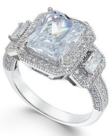 Cubic Zirconia Large Stone Halo Ring in Sterling Silver