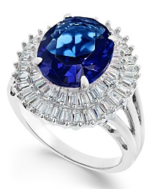 Simulated Sapphire & Cubic Zirconia Double Halo Ring in Sterling Silver