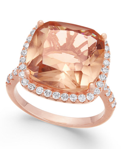 Simulated Morganite & Cubic Zirconia Halo Ring in 14k Rose Gold-Plated Sterling Silver