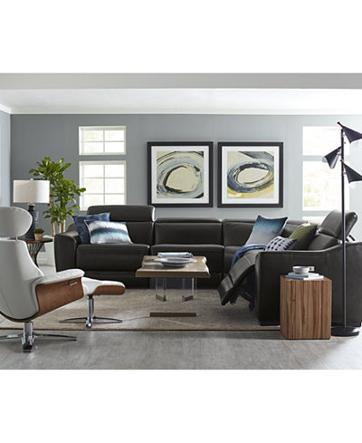 Anniston Leather Power Reclining Sectional Collection with USB Power Outlet, Created For Macy's