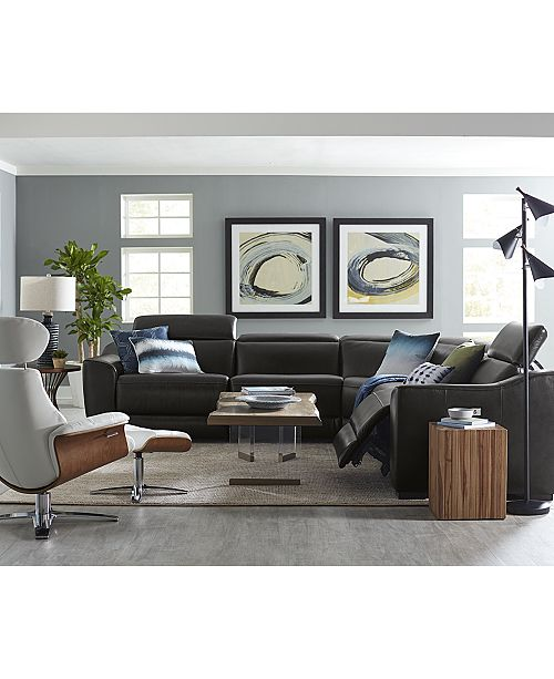 Furniture Closeout Anniston Leather Power Reclining Sectional