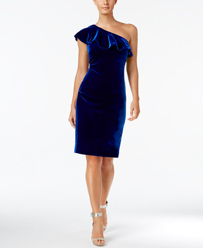 Calvin Klein Velvet One Shoulder Ruffle Dress