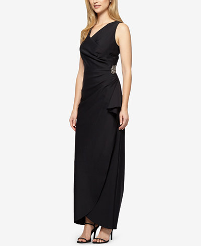 Alex Evenings Draped Embellished Column Gown