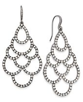 I.N.C. Silver-Tone Crystal Scalloped Chandelier Earrings, Created for Macy's