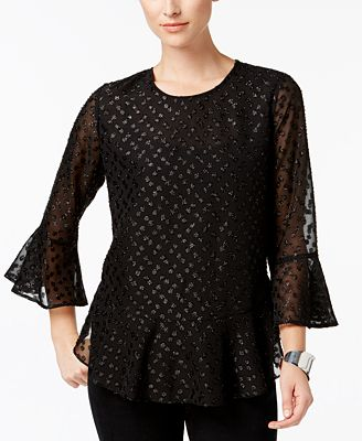 Charter Club Petite Sparkle-Dot Top, Created for Macy's