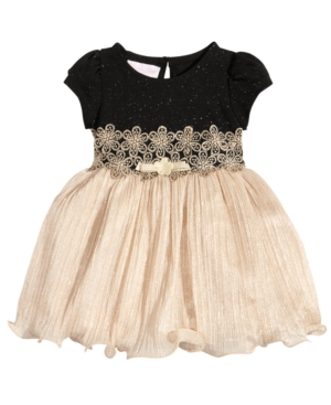 Bonnie Baby Glitter Velvet  Pleated Metallic Dress Baby Girls (024 months)