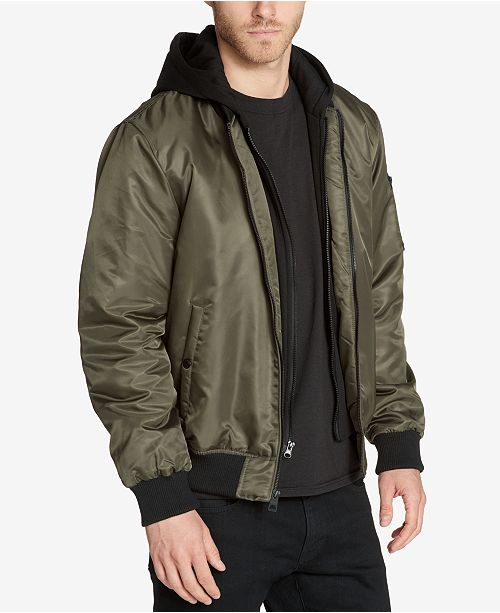 d666219d8dc GUESS Men's Bomber Jacket with Removable Hooded Inset & Reviews ...