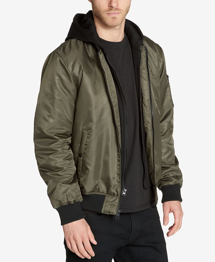 GUESS - Men's Bomber Jacket with Removable Hooded Inset