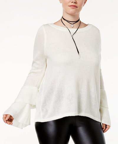 Almost Famous Trendy Plus Size Tiered Bell-Sleeve Sweater
