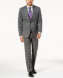 Sean John Men's Slim-Fit Gray Check Windowpane Suit Separates