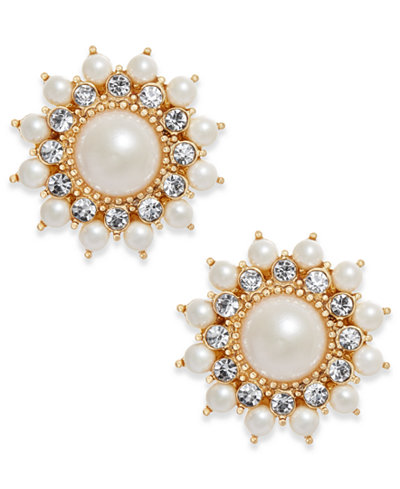 Charter Club Gold-Tone Imitation Pearl & Crystal Starburst Stud Earrings, Created for Macy's