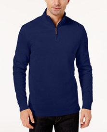 Club Room Men's Quarter-Zip Ribbed Cotton Sweater (Navy Blue)