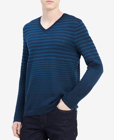 Calvin Klein Men's Striped Merino Wool Sweater