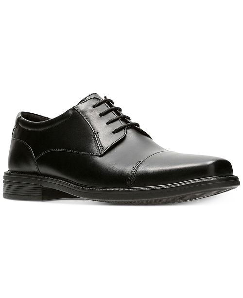 Men's Wenham Black Leather Dress Cap-Toe Oxfords