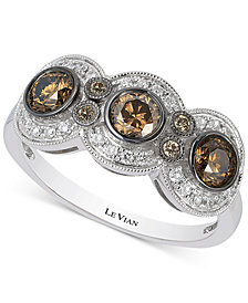 Le Vian Chocolatier® Chocolate Deco Estate™  Diamond (9/10 ct. t.w.)  Ring in 14k White Gold
