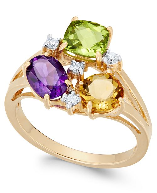 Macy's Multi-Gemstone (2-5/8 ct. t.w.) & Diamond (1/10 ct. t.w.) Cluster Ring in 14k Gold