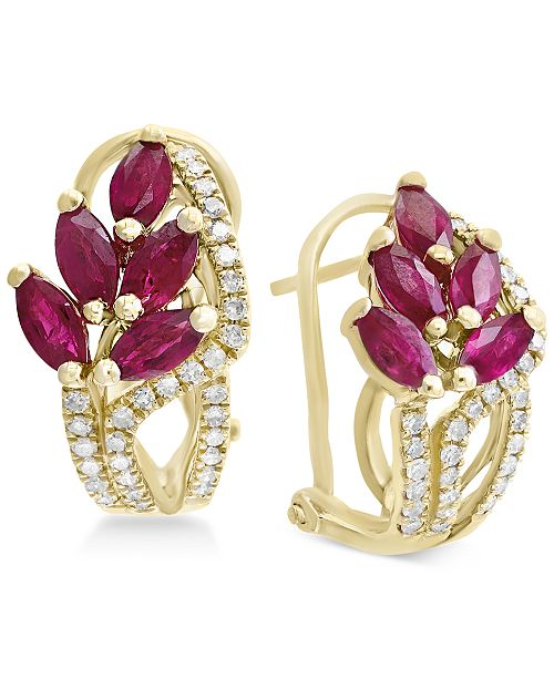 EFFY Collection Amoré by EFFY® Certified Ruby (2-1/5 ct. t.w.) & Diamond (1/3 ct. t.w.) Drop Earrings in 14k Gold