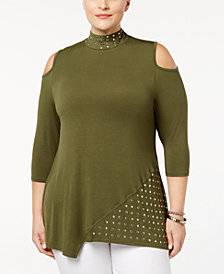 Belldini Plus Size Studded Cold-Shoulder Tunic