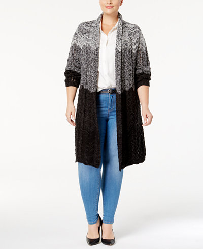 Style & Co Plus Size Ombré Open-Front Duster Cardigan, Created for ...