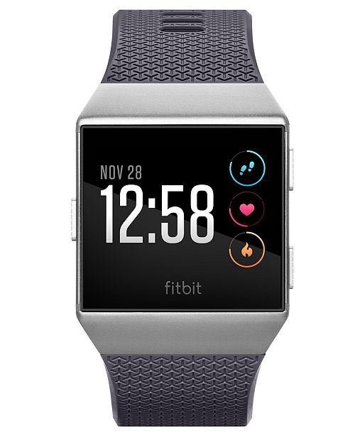 48844c819f033 ... Fitbit Unisex Ionic Blue-Gray Elastomer Strap Smart Watch 35x32mm ...