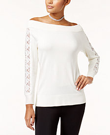 Thalia Sodi Off-The-Shoulder Crochet-Trim Sweater, Created for Macy's