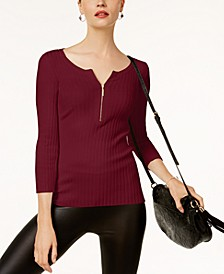 INC Zip-Front Sweater, Created for Macy's