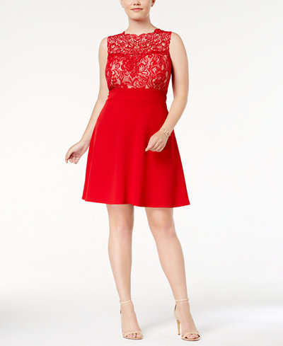 Love Squared Trendy Plus Size Lace Fit Amp Flare Dress