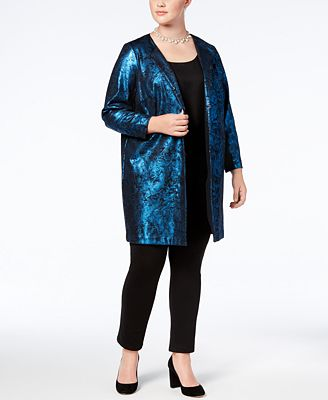 Alfani Plus Size Metallic Jacquard Jacket, Created for Macy's