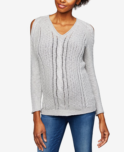 A Pea In The Pod Maternity Cotton Cold-Shoulder Sweater