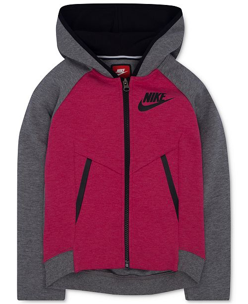 3947fe3c45 Nike Zip-Up Tech Fleece Hoodie, Little Girls & Reviews - Sweaters ...