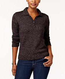 Karen Scott Petite Henley Sweater, Created for Macy's