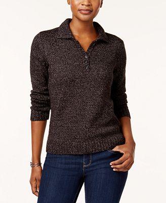 Karen Scott Point Collar Marled Sweater Created For Macys