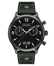 Movado Men's Swiss Heritage Series Calendoplan Green Leather Strap Watch 45mm