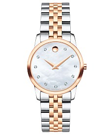 Movado Women's Swiss Museum Classic Diamond-Accent Two-Tone PVD Stainless Steel Bracelet Watch 28mm