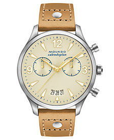 Movado Women's Swiss Heritage Series Calendoplan Vachetta Leather Strap Watch 38mm