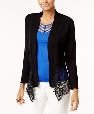 Thalia Sodi Lace-Hem Cardigan, Created for Macy's - Sweaters ...