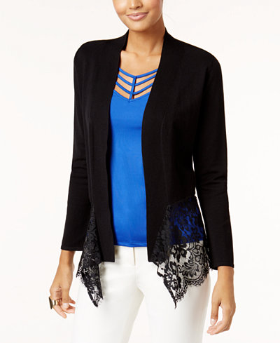 Thalia Sodi Lace-Hem Cardigan, Created for Macy's - Sweaters ...