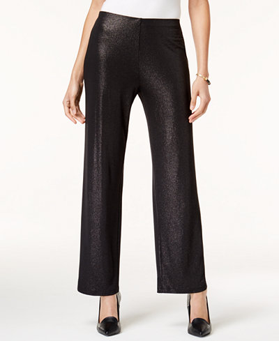 Alfani Foiled Wide-Leg Pants, Created for Macy's