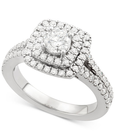 Marchesa Certified Diamond Square Halo Engagement Ring 1 4 Ct Tw