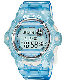 Baby-G Women's Digital Baby-G Blue Resin Strap Watch 43mm