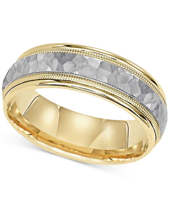 Macy's - Two-Tone Hammered-Look Band in 14k Gold & White Gold