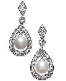 Cultured Freshwater Pearl (6mm) & White Topaz (1 ct. t.w.) Drop Earrings in Sterling Silver