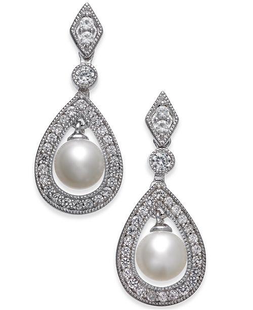 Macy's Cultured Freshwater Pearl (6mm) & White Topaz (1 ct. t.w.) Drop Earrings in Sterling Silver